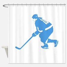 Blue Ice Hockey Player Shower Curtain