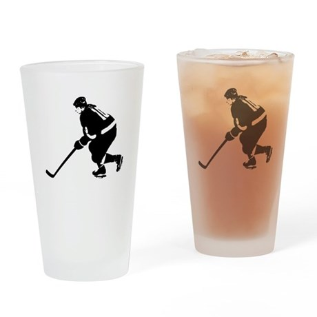 Ice Hockey Player Drinking Glass