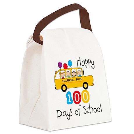 School Bus Celebrate 100 Days Canvas Lunch Bag
