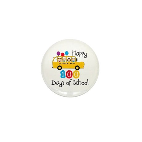 School Bus Celebrate 100 Days Mini Button