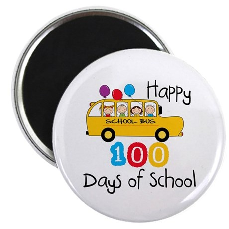 School Bus Celebrate 100 Days Magnet