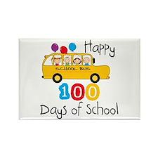 School Bus Celebrate 100 Days Rectangle Magnet