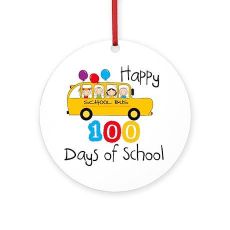 School Bus Celebrate 100 Days Ornament (Round)