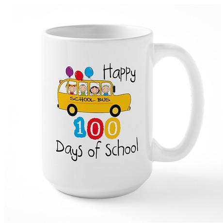 School Bus Celebrate 100 Days Large Mug