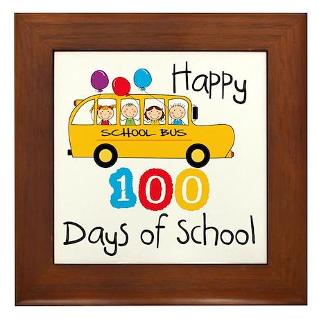 School Bus Celebrate 100 Days Framed Tile