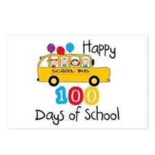 School Bus Celebrate 100 Days Postcards (Package o