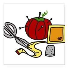 """Sewing Supplies Square Car Magnet 3"""" x 3"""""""