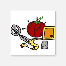 "Sewing Supplies Square Sticker 3"" x 3"""
