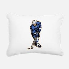 Blue Ice Hockey Player Rectangular Canvas Pillow