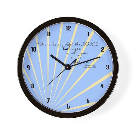 Psalms 118 24 Bible Verse Wall Clock by KingJamesBibleVerses