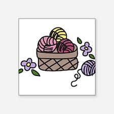 "Knitting Yarn Square Sticker 3"" x 3"""