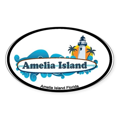 Amelia Island - Surf Design. Sticker (Oval)