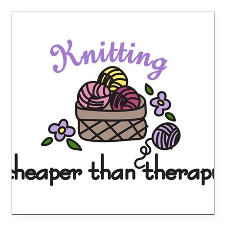 """Cheaper Than Therapy Square Car Magnet 3"""" x 3"""""""