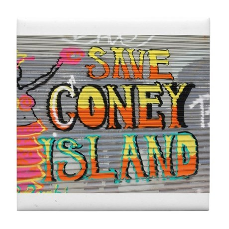 Save Coney Island Tile Coaster