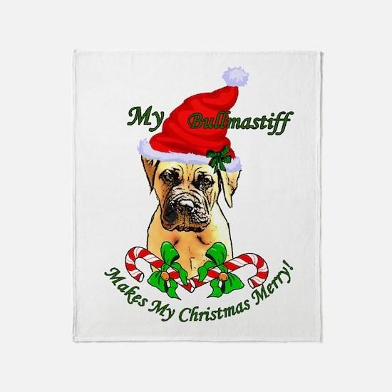 Bullmastiff Christmas Throw Blanket