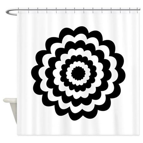 Black Flower Shower Curtain By Metarla2