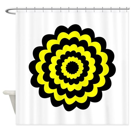 yellow and black flower shower curtain by metarla2. Black Bedroom Furniture Sets. Home Design Ideas