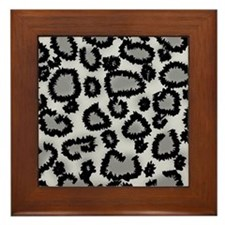Gray Leopard Print. Framed Tile
