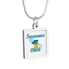 Insurance Chick #3 Silver Square Necklace