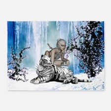 Awesome snow tiger with fantasy girl 5'x7'Area Rug