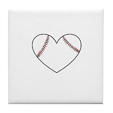 Baseball Heart Tile Coaster