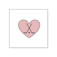 "Hockey Heart Square Sticker 3"" x 3"""