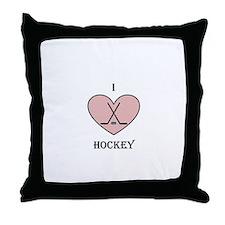 I heart hockey Throw Pillow