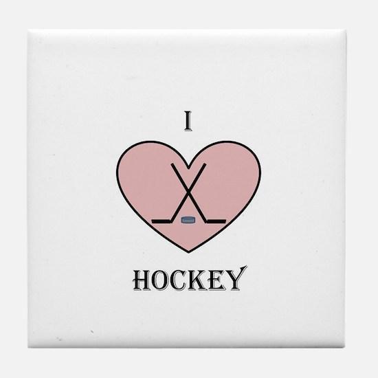 I heart hockey Tile Coaster
