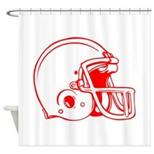 Red Football Helmet Shower Curtain