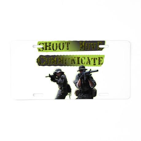 Shoot Move Communicate Aluminum License Plate
