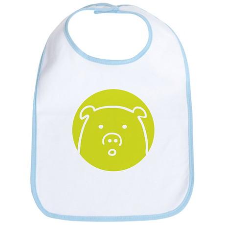 Cute Green Piggy Design Bib