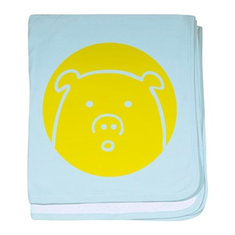 Cute Green Piggy Design baby blanket