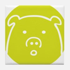 Cute Green Piggy Design Tile Coaster