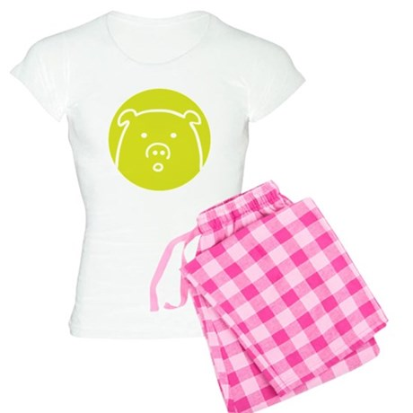 Cute Green Piggy Design Women's Light Pajamas