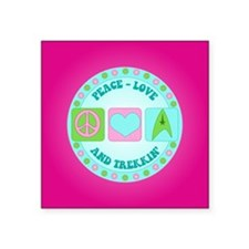 "Peace Love Trekkin' Square Sticker 3"" x 3"""