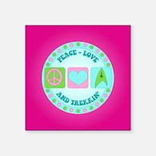 "Peace Love Trekkin' Square Sticker 3"" x 3"""