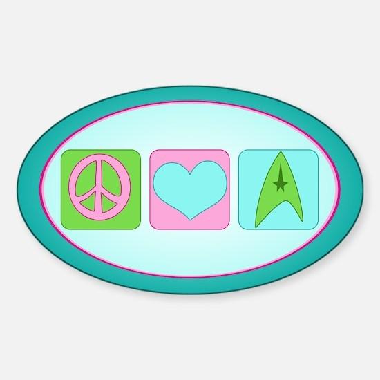 Peace Love Trekkin' Sticker (Oval)