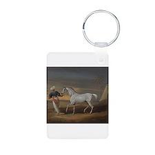 White Arabian Horse Keychains