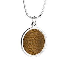 Leopard Skin Silver Round Necklace