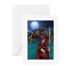 Scarlet Huntress and Werewolves Greeting Cards (Pk