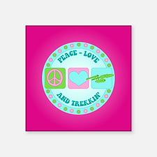 "Peace Love NCC-1701 Square Sticker 3"" x 3"""