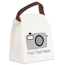 Gray Camera and Text. Canvas Lunch Bag