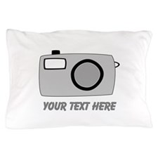 Gray Camera and Text. Pillow Case