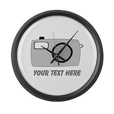 Gray Camera and Text. Large Wall Clock
