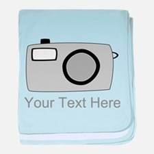 Gray Camera and Text. baby blanket