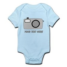 Gray Camera and Text. Infant Bodysuit