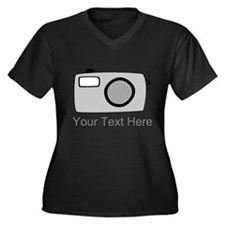 Gray Camera and Text. Women's Plus Size V-Neck Dar