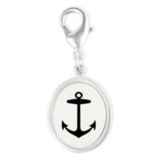 Anchor Silver Oval Charm