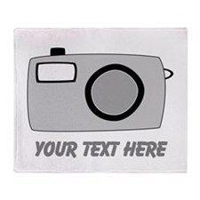 Gray Camera and Text. Throw Blanket