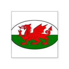 Welsh flag with text Oval Sticker